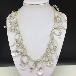 Chico's Clear Glass Seed Beaded Crystal Necklace